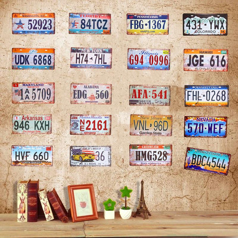 $10.21- Car License Plate Vintage Tin Sign Plates Shabby Chic Tin Signs Metal Plaques Beer Art Poster Bar Pub Tavern Wall Decor