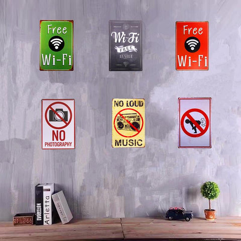 $8.82- Shabby Chic Metal Tin Sign Wifi Warning Poster Wall Plaque Poster Bar Pub Restaurant Man Cave Home Decor Craft Wall Decor
