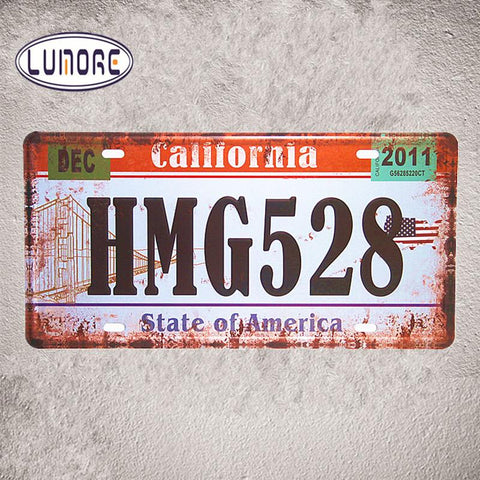 $12.33- California Hmg528 Vintage Tin Sign License Plate Metal Shabby Chic Office Restaurant Bar Home Decoration