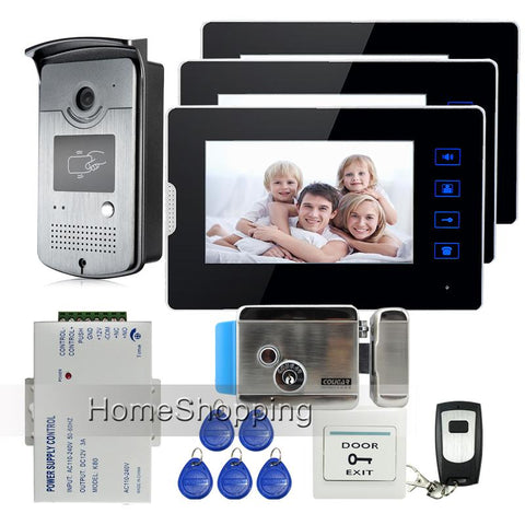 7 Touch Screen Video Door Phone Intercom 3 Monitors Waterproof Rfid Access Camera Electric Lock Remote Control Ship