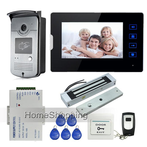 7 Touch Screen Video Door Phone Intercom 1 Monitor Waterproof Rfid Access Camera 180Kg Electric Magnetic Lock