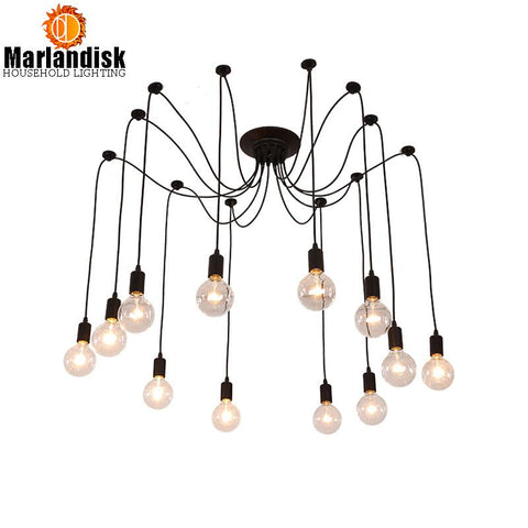 $7.56- Indoor Led Vintage Nordic Spider Pendant Lamp Multiple Adjustable Retro Pendant Lamps Loft Classic Decorative Fixture Lightings
