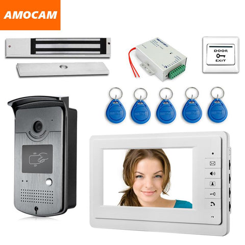 7 Touch Screen Video Door Phone Intercom 1 Monitor + Rfid Access Camera Waterproof + 180Kg Electric Magnetic Lock+ Door Exit