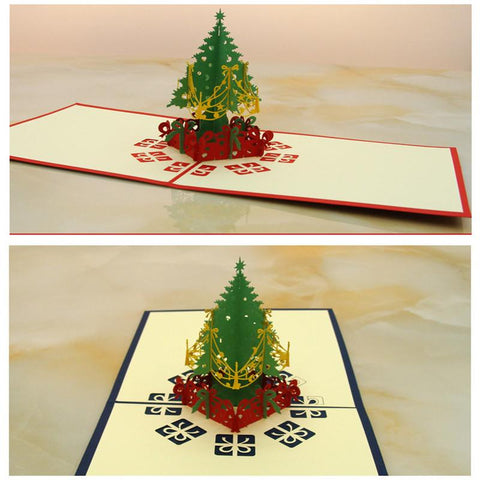 3D Pop Up Holiday Greeting Cards Cherry Tree House Christmas Thanksgiving Gift