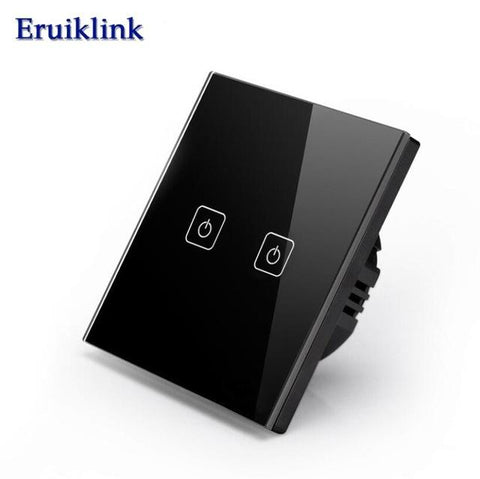 Eruiklink EU/UK Standard Touch SwitchCrystal Glass Panel Black Fireproof Wall Light Switch 1/2/3 Gang 1 Way for Smart Home