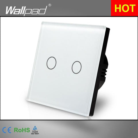 $30.37- New Arrival Wallpad Eu Uk 110V220V 2 Gangs 2 Way 3 Way Position White Glass Panel Touch Button Wall Lights Switch Power Supply