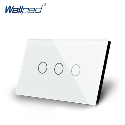 $42.30- 3 Gang 2 Way Us/Au Standard Wallpad Smart Touch Switch Touch Screen Light Switch White Crystal Glass 3 Gang Modern Wall Switch