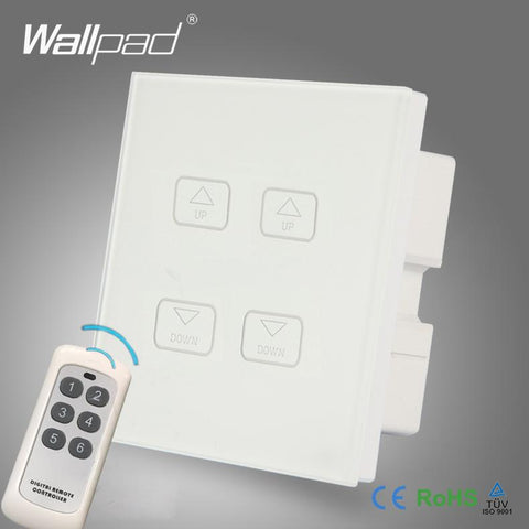 $44.14- Hot s Wallpad White Crystal Glass Led Light Wireless Remote 4 Gang 2/3 Way Dimming Touch Screen Dimmer Wall Light Switches