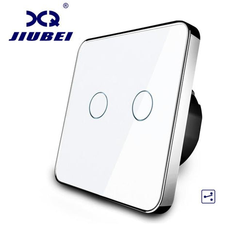 $41.29- Jiubei Eu Standard Touch Switch 2 Gang 2 Way Control 3 Color Crystal Glass Panelwall Light Switchc702S11/12/3