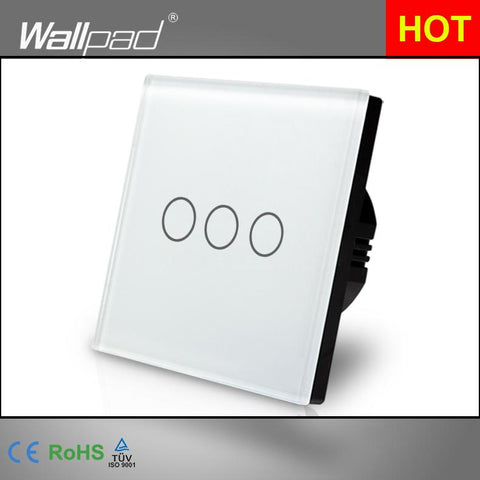 $30.37- Best ing Wallpad Luxury Touch Crystal Glass 3 Gang 1 Way Eu Uk Standard White Touch Sensor Light Switch Panel