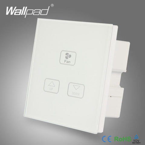 $33.66- Ceilling 3 Gang Fan Switch Wallpad White Crystal Glass Switch 3 Gang Fan Speed Dimmer Regulator Change Touch Wall Switch