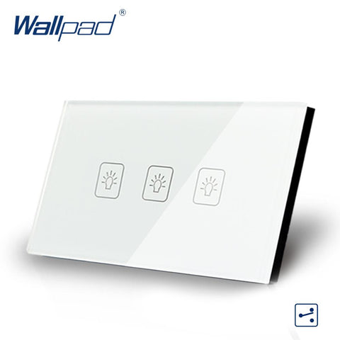$34.59- 3 Gang 2 Way Us/Au Standard Wallpad Touch Switch Touch Screen Light Switch White Crystal Glass Panel