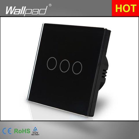 $32.76- New Arrival Wallpad Eu Uk 110V220V 3 Gangs 2 Way 3 Way Position White Glass Touch Panel Electrical Lighting Button Switch