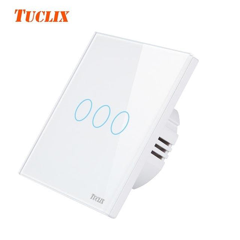 $21.31- Tuclix Eu/Uk Touch Switch Led Wall Light Switch 110240V 3 Gang 1 Way Waterproof Crystal Tempered Glass Panels