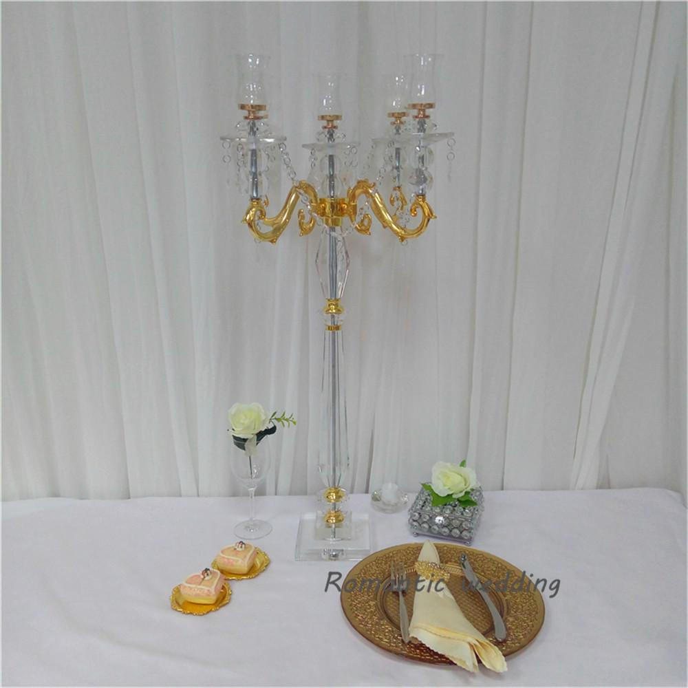 $336.60- 1Pcs/Lot Free Shipment Flash Clear Glass Gold Metal Candlesticks Crafts Discounted Now For Wedding Party Event Home Decoration