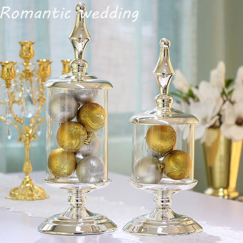 10Pcs/Lot Silver Metal Glass Candy Container Candle Holder Wedding Decorative Marshmallow Storage Tank Jewelery Can Decorations