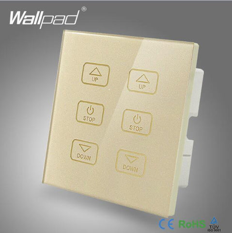 $37.69- New 6 Gang Dimmer Switch 110V250V Wallpad Luxury White Crystal Glass Panel 6 Buttons Control 2 Dimmerable Lamps Wall Switch Led