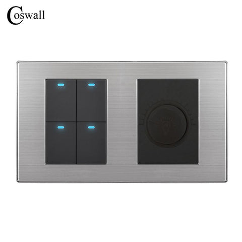 $31.36- Coswall 4 Gang 2 Way Luxury Led Light Switch Push Button Wall Switch W/ Dimmer Regulator Stainless Steel Panel 160Mm*86Mm