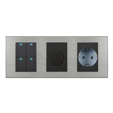 Coswall 4 Gang 2 Way Push Button Led Light Switch + Dimmer W/ 16A Eu Standard Wall Socket Stainless Steel Panel 236*86Mm
