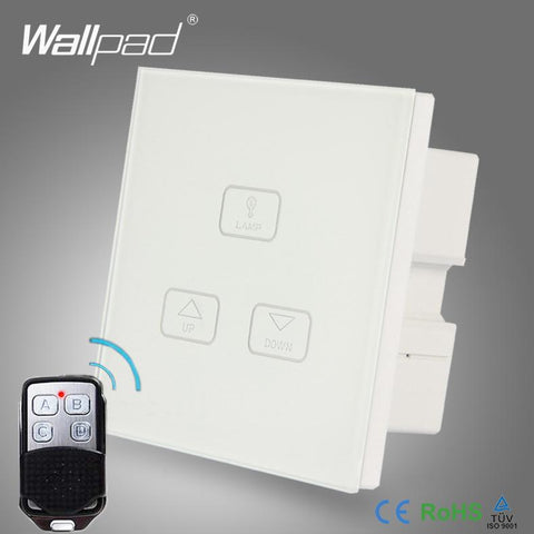 $41.38- Remote Dimming Control Switch Wallpad Modern White Glass Led Light Wirelss Remote 3 Gang 2 Way 3 Way Touch Dimmer Light Switch