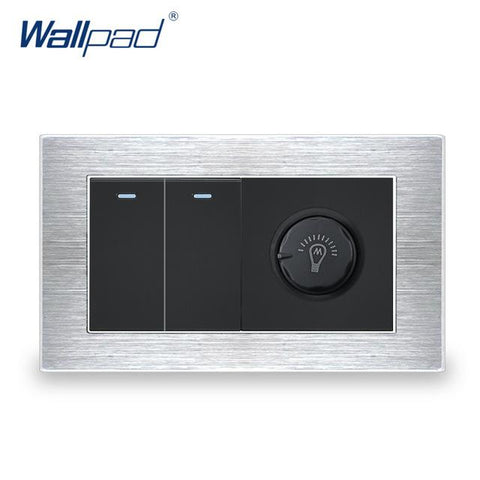 $28.14- 2 Gang 1 Way Switch W/ Dimmer Wallpad Luxury Wall Light Switch Satin Metal Panel W/ Silver Border 146*86Mm