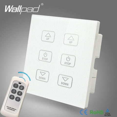 110V250V Wallpad White Glass Touch Panel 6 Gangs Wireless Remote Control Double Fan Speed Regulator Dimmer Switch