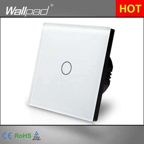 $28.28- Hot White Crystal Glass Panel Wall Switch Eu Uk Standard 110~250V 1 Gang Dimmer White Touch Screen Panel Wallpad