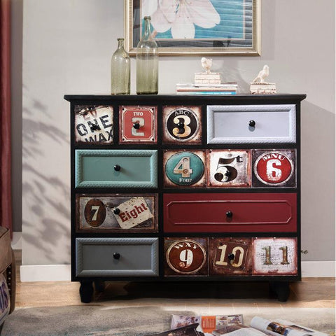 $468.37- Solid Wood Console Counters Mediterranean Vintage Sideboard Antique Made Old Drawers Color Cabinet Lockers