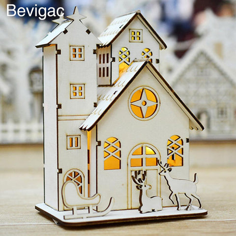 $19.08- Bevigac Christmas Luminous Led Wood Villa House Scene Ornament Xmas Gift Table Decor Decorations For Window Sills Sideboards