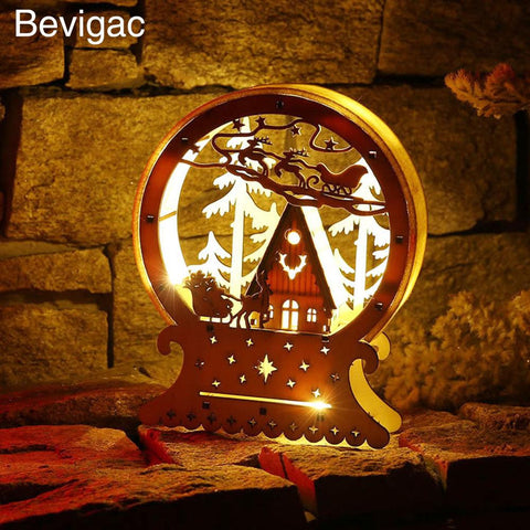 $18.05- Bevigac Christmas Luminous Led Wood House Ornament Xmas Gift Table Decor Decorations For Window Sills Sideboards Shop Counter