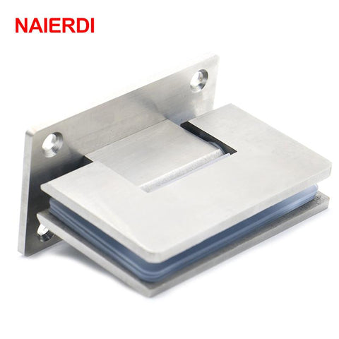 2Pcs Naierdi4913 90 Degree Open 304 Stainless Steel Wall Mount Glass Shower Door Hinge For Home Bathroom Furniture Hardware
