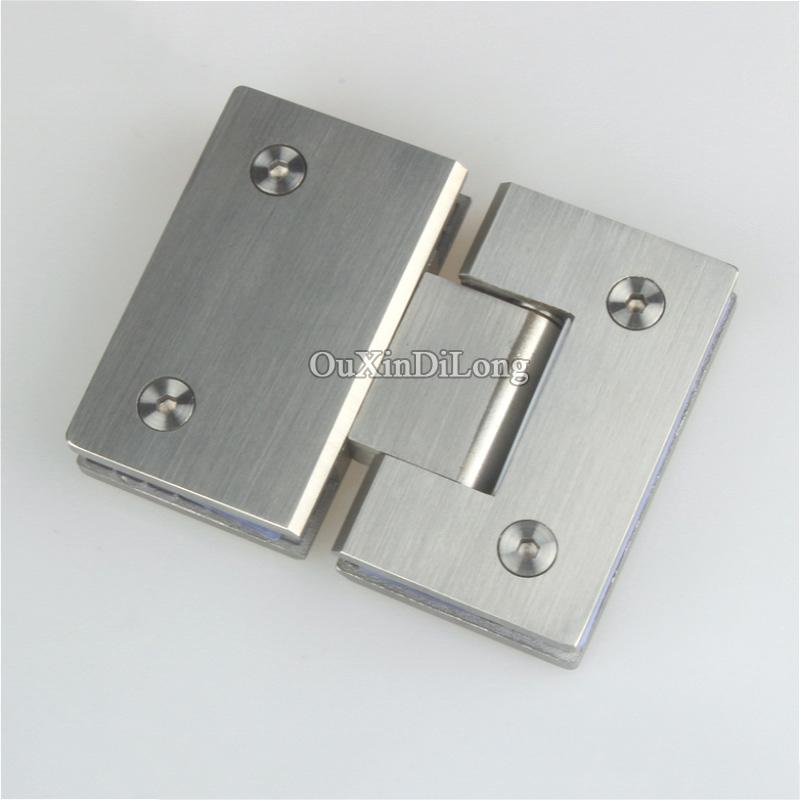 $186.98  Hot 2Pcs 304 Stainless Steel Frameless Shower Glass Door Hinges  180 Degree Glass To