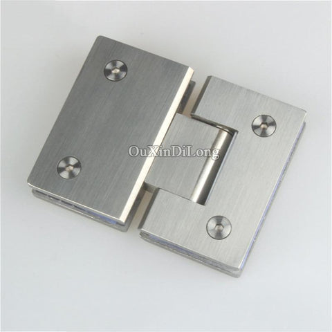 $186.98- Hot 2Pcs 304 Stainless Steel Frameless Shower Glass Door Hinges 180 Degree Glass To Glass Fixed Clamps Holder Brackets 4 Colors