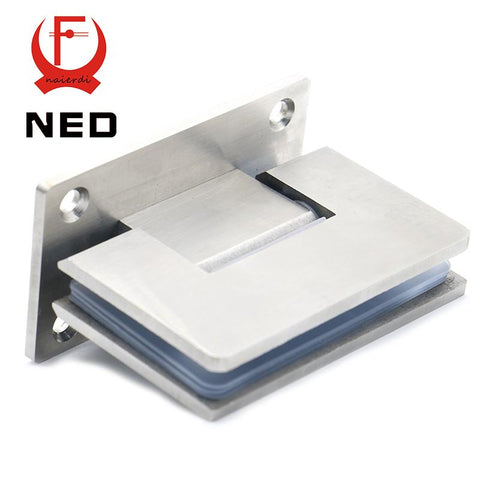 $59.60- 2Pcs Ned4913 90 Degree Open 304 Stainless Steel Wall Mount Glass Shower Door Hinge For Home Bathroom Furniture Hardware