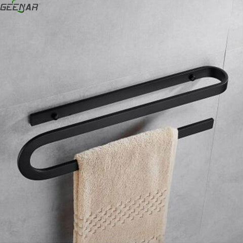$85.68- Nordic Simple Creative Towel Rack Black Rubber Lacquer Towel Bar Bathroom Towel Double Stick Pylon Bathroom Accessories