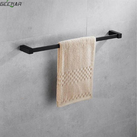 $70.78- Nordic Black Towel Rack Bath Towel Rack Toilet Towel Bar Creative Rubber Lacquer Single Pole Towel Rack Bathroom Accessories
