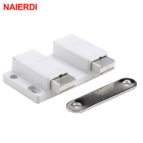 $2.24- Naierdi Double Magnetic Cabinet Catch Kitchen Door Stopper Drawer Soft Close Square Push To Open Touch For Furniture Hardware