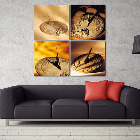 $12.18- Banmu Home Decor Canvas Wall Art 4 Panels No Framed Ancient Sundial Clock Canvas Prints For Living Room Decoration