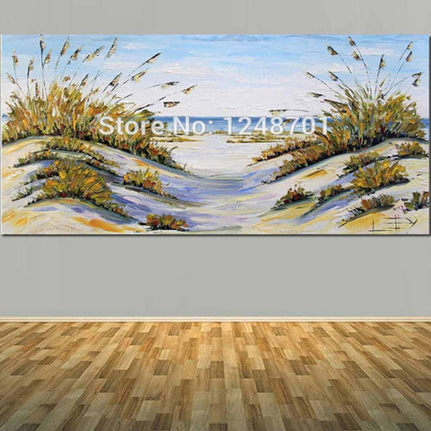 $70.25- Large Size Abstract Beach Decor Coastal Art Ocean Oil Painting Palette Knife Canvas Art For Living Room Bedroom Wall Decoration
