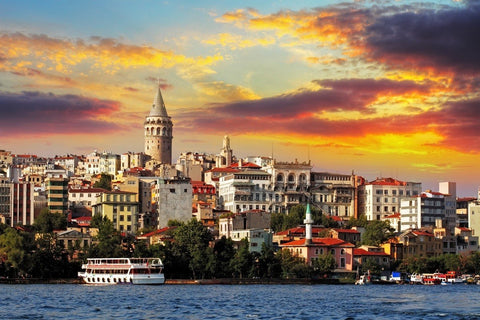 $13.43- fabric poster custom print frame available Istanbul Turkey coastal cityscapes 218PFJ for wall art room decor home decoration