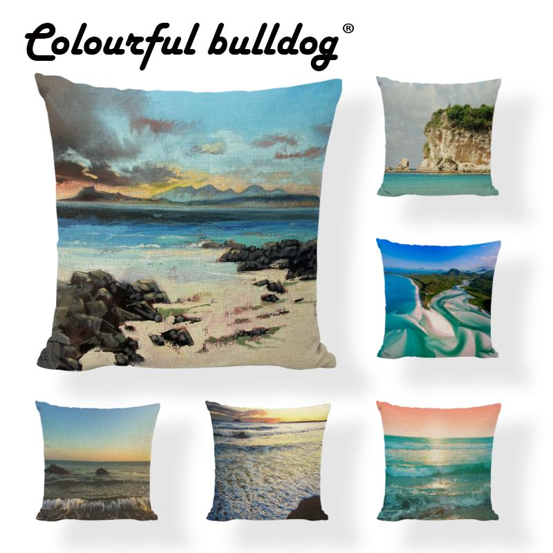Buy Ocean Style Cushion Covers Sea Scenery Print Home Decorative Enchanting Coastal Throw Pillow Covers
