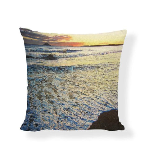 $7.24- Ocean Style Cushion Covers Sea Scenery Print Home Decorative Bench Seats Coastal Throw Pillow Cover Linen Cotton Gift Pillowcase