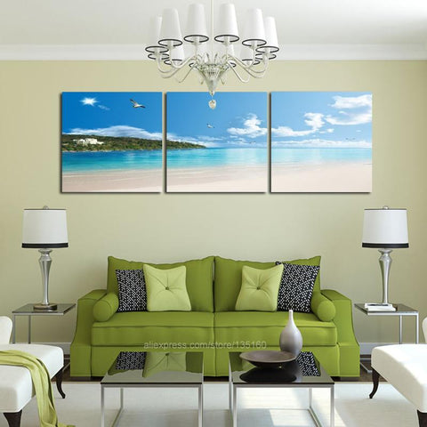 $19.76- New Arrivals Modular Poster Home Decor 3 Pieces/Set Wall Art Canvas Painting Tropical Seascape Coastal Beach Beautiful Landscape