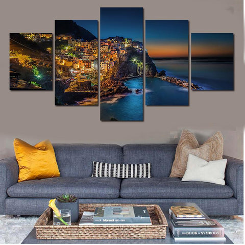 $16.99- 5pcs Unframed Coastal Island Canvas Art Painting Poster Living Room Wall Picture On The Wall Modular Picture Print Cuadros Decor