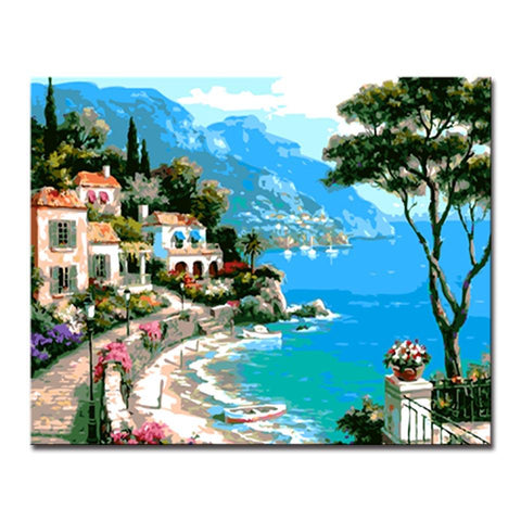 $18.18- Diy Oil Painting By Numbers Handpainted Coastal Urban Beach Seascape Canvas Pictures Home Decor Living Room Wall Art Framework