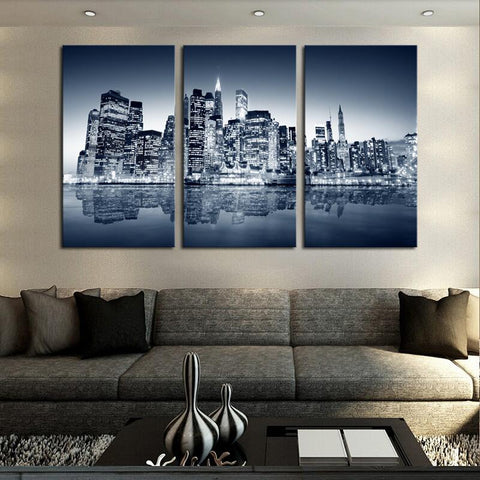 $24.79- High Quality Coastal City Landscape Canvas Painting 3 Panels Wall Art Foreign Architecture Picture Living Room Home Decoration