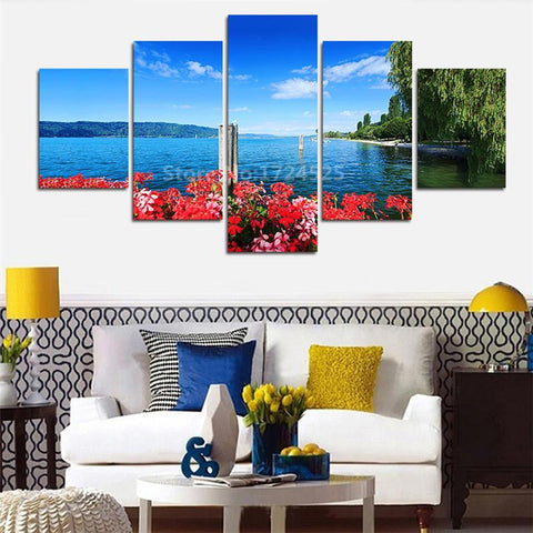 $29.70- Unframed 5 Pieces Art Pictures Coastal Flower Willow Decor Modern On The Wall Printed Canvas Pictures Wall Paintings