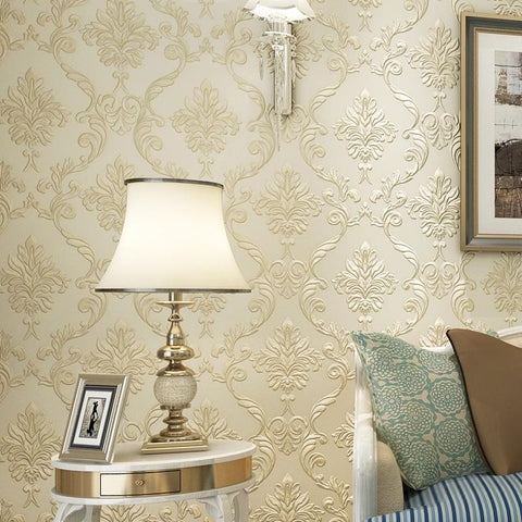 $39.93- 3D Embossed Non-woven Wallpaper Papel De Parede European Style Living Room Sofa TV Background Wall Damask Wallpaper Breathable