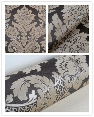 $45.63- Orange/Yellow/Ivory White/Light Teal/Black Gold/Red/Olive Luxury Metallic Black Silver Floral Damask Texture Wallpaper Roll
