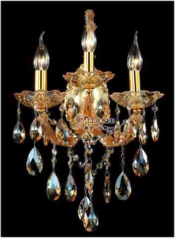 $339.41- Maria Theresa Crystal Wall Sconces Light Fixture with 3 lights Amber color